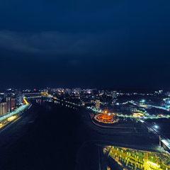 航拍渠县之渠县滨江走廊夜景