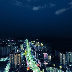 航拍渠县之万兴广场夜景